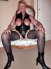 Glamorous older mama is getting nude on pix