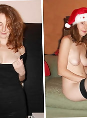 Hot amateur dressed undressed collages