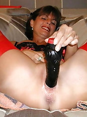 Fantastic mature prostitute is playing with her plug